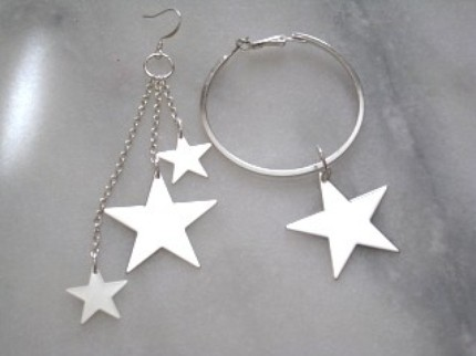 mismatch shooting stars earrings on etsy, $8.00